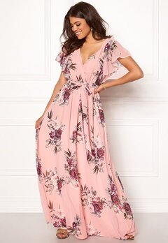 Goddiva Floral Sleeve Maxi Dress Peach Bubbleroom.dk