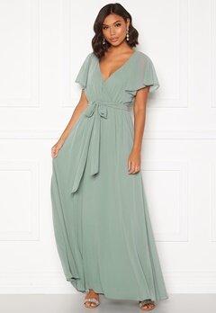 Goddiva Flutter Chiffon Dress Sage Green bubbleroom.dk