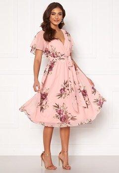 Goddiva Flutter Floral Midi Dress Peach Bubbleroom.dk