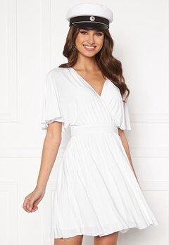 Goddiva Flutter Sleeve Dress White Bubbleroom.dk