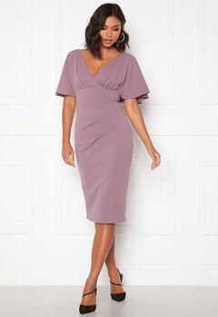 Goddiva Flutter Tie Waist Dress Dusty Lavendel Bubbleroom.dk