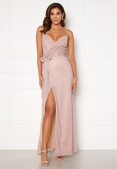 Goddiva Glitter Wrap Front Maxi Dress Blush<br>  Bubbleroom.dk