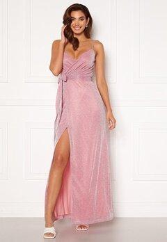 Goddiva Glitter Wrap Front Maxi Dress Pink<br>  Bubbleroom.dk