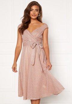 Goddiva Glitter Wrap Midi Dress Nude Bubbleroom.dk