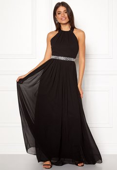 Goddiva Halterneck Chiffon Dress black Bubbleroom.dk