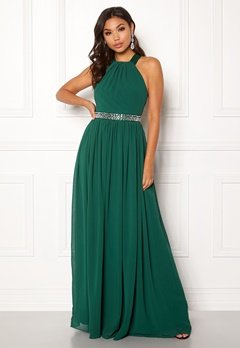 Goddiva Halterneck Chiffon Maxi Dress Green Bubbleroom.dk