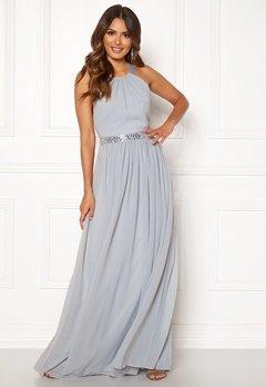 Goddiva Halterneck Chiffon Maxi Dress Grey Bubbleroom.dk