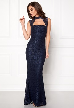 Goddiva High Neck Cut Out Lace Navy Bubbleroom.dk