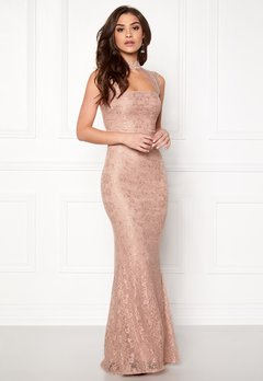 Goddiva High Neck Cut Out Lace Nude Bubbleroom.dk