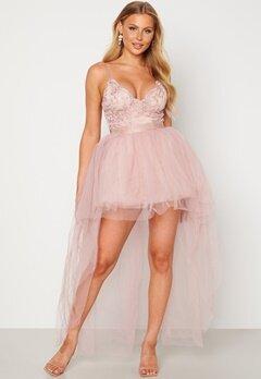 Goddiva Lace Bodice High Low Dress Nude bubbleroom.dk