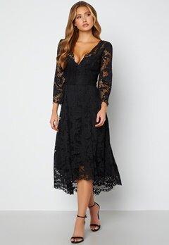 Goddiva Lace High Low Midi Dress Black bubbleroom.dk