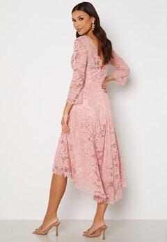 Goddiva Lace High Low Midi Dress Blush bubbleroom.dk