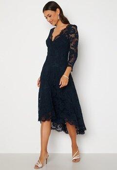 Goddiva Lace High Low Midi Dress Navy bubbleroom.dk