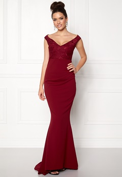 Goddiva Lace Pleated Maxi Dress Wine Bubbleroom.dk