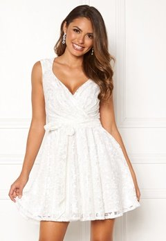 Goddiva Lace Skater Dress White Bubbleroom.dk