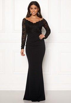 Goddiva Lace Trim Maxi Dress Black bubbleroom.dk