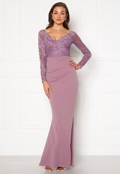 Goddiva Lace Trim Maxi Dress Dusty Lavandel Bubbleroom.dk