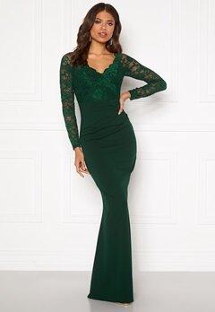 Goddiva Lace Trim Maxi Dress Emerald Bubbleroom.dk