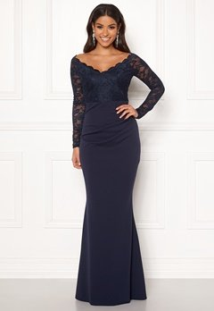 Goddiva Lace Trim Maxi Dress Navy Bubbleroom.dk