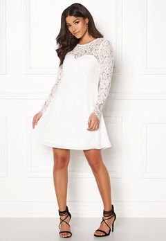 Goddiva Lace Trim Skater Dress White Bubbleroom.dk