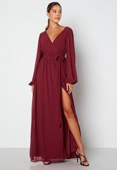 Goddiva Long Sleeve Chiffon Dress Berry bubbleroom.dk