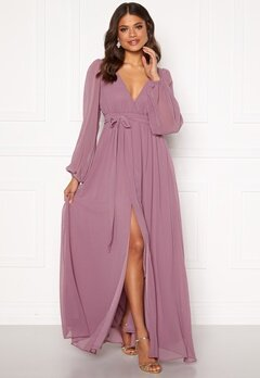 Goddiva Long Sleeve Chiffon Dress Dusty Lavendel Bubbleroom.dk