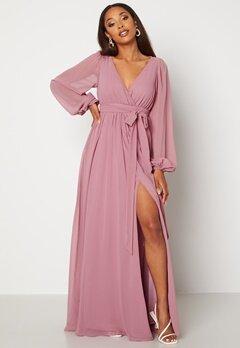 Goddiva Long Sleeve Chiffon Dress Dusty Lavendel bubbleroom.dk
