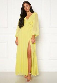 Goddiva Long Sleeve Chiffon Dress Lemon Bubbleroom.dk