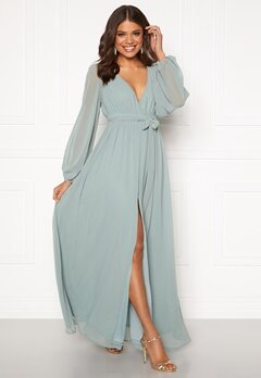 Goddiva Long Sleeve Chiffon Dress Sage Green Bubbleroom.dk