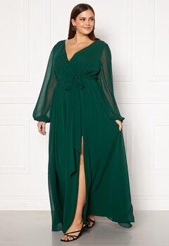Goddiva Curve Long Sleeve Chiffon Maxi Curve Dress Green Bubbleroom.dk