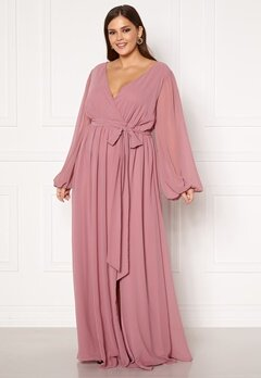 Goddiva Curve Long Sleeve Chiffon Maxi Curve Dress Dusty Pink Bubbleroom.dk