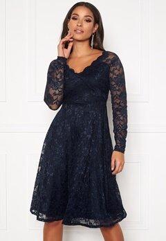 Goddiva Long Sleeve Lace Dress Navy Bubbleroom.dk