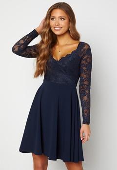 Goddiva Long Sleeve Lace Skater Dress Navy bubbleroom.dk