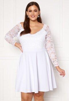 Goddiva Long Sleeve Lace Trim Skater Curve Dress White Bubbleroom.dk