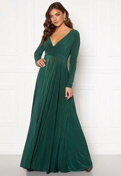 Goddiva Long Sleeve Oscar Dress Botanical Green Bubbleroom.dk