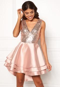 Goddiva Multi Layered Satin Dress Champagne Bubbleroom.dk