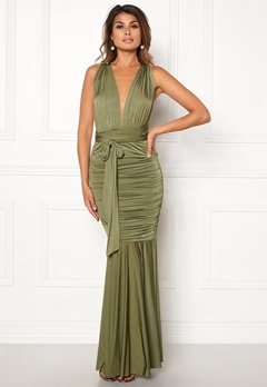 Goddiva Multi Tie Fishtail Dress Olive Bubbleroom.dk