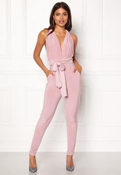 Goddiva Multi Tie Jumpsuit Dusty Pink Bubbleroom.dk