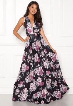 Goddiva Multi Tie Maxi Dress Black Floral Bubbleroom.dk