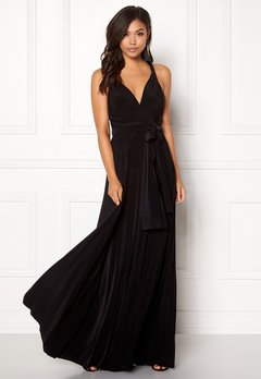 Goddiva Multi Tie Maxi Dress Black Bubbleroom.dk