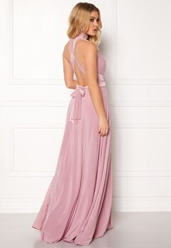 Goddiva Multi Tie Maxi Dress Dusty Pink Bubbleroom.dk