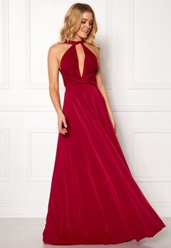 Goddiva Multi Tie Maxi Dress Red Bubbleroom.dk