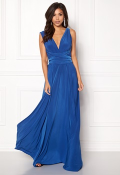 Goddiva Multi Tie Maxi Dress Royal Bubbleroom.dk