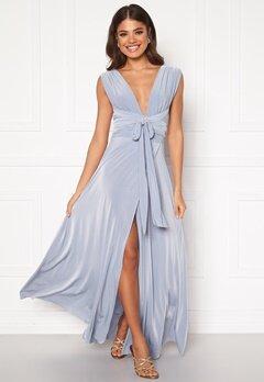 Goddiva Multi Tie Wrap Maxi Dress Dusty Blue Bubbleroom.dk