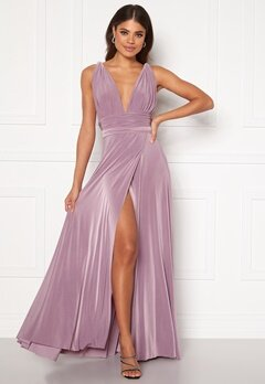 Goddiva Multi Tie Wrap Maxi Dress Dusty Lavendel Bubbleroom.dk