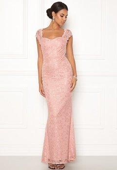 Goddiva Open Back Lace Maxi Dress Nude Bubbleroom.dk