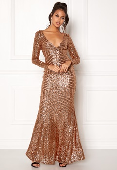 Goddiva Open Back Sequin Dress Champagne Bubbleroom.dk