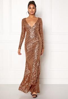 Goddiva Open Back Sequin Dress Champagne Bubbleroom.dk