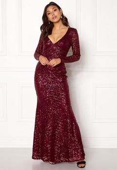 Goddiva Open Back Sequin Dress Wine Bubbleroom.dk