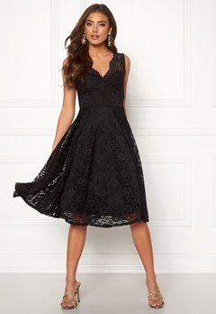 Goddiva Open Back Skater Dress Black Bubbleroom.dk